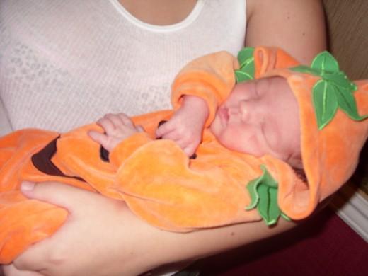 Natalia in her pumpkin costume