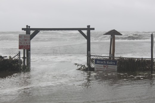 Entrance to Bayview beach in Milford, Ct.  This is a wide beach and the water still made it all the way to the street!