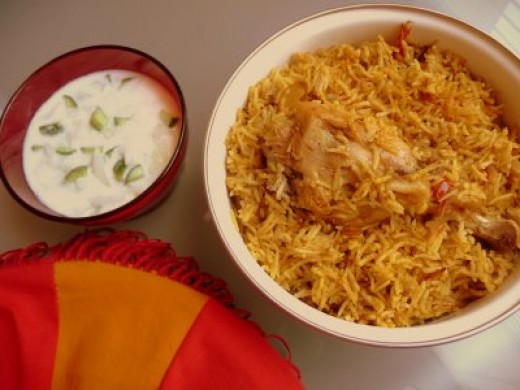 Chicken Biriyani with Yoghurt Raitha