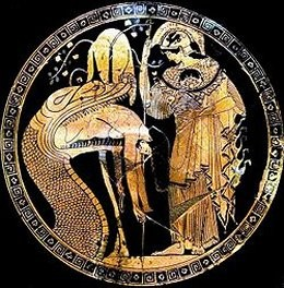 Douris cup, Vatican, portraying Jason confronting the dragon of Colchis.