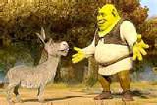 """Donkey or as Shrek says, """"DUN-KIE,"""" is a great sidekick. He, the donkey, looks out for Shrek who is not the wisest troll of the bunch."""