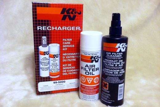 Here's what you're going to get when you open up your K&N Recharger Filter Care Service Kit