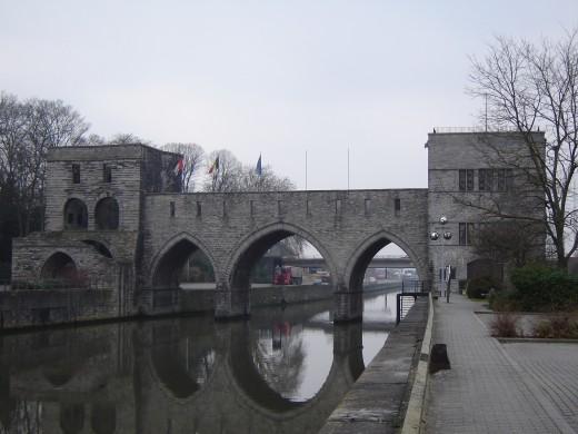 'Pont des Trous' over the Scheldt River, Tournai, Belgium