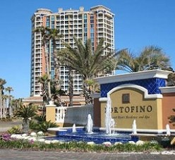 Entrance to Portofino Resort in Pensacola Beach, Florida.