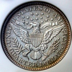 1893O Silver Barber Quarter Reverse. Mintmark can be observed below the Eagle. O is for the New Orleans Mint. Photo: coinpage.com