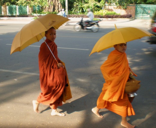 Buddhist Monks, Phnom Phen, Cambodia