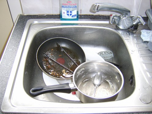 Take care of any washing up which remains outstanding