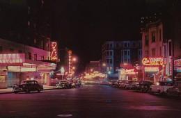 Rush St. at night