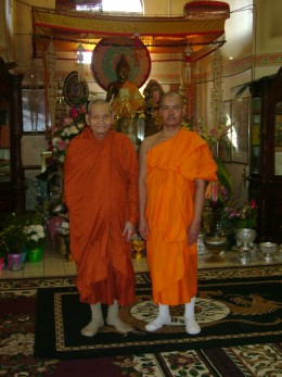 The old monk is my grandfather best friend. After my father soon found out his true history, my dad decided to shave his head and become a monk for three days. It was to pay respect for his father.
