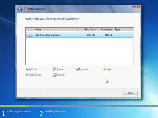 After creating drive there will be option to format and delete the created drive