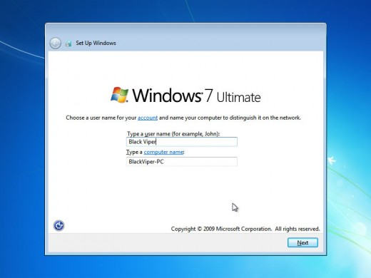 Now you will be prompted to enter user name. Windows will suggest a PC name. If you want you can change this.