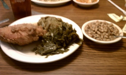 Ricks Uptown Cafeteria in Greenwood SC. Here is what's for lunch: fried chicken, black eyed peas, collards and pole beans.