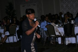 """Sheila captures the heart of her audience as she sings, """"I Feel Good,"""" by Stephanie Mills."""