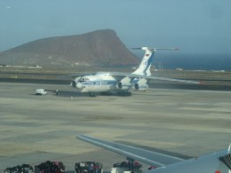 Reina Sofia Airport in Tenerife South with the Red Mountain in the background