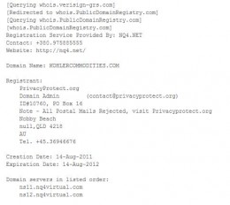 Kohler Commodities domain whois.org info