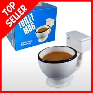 An office favorite. The Toilet Bowl Mug. It takes a real man or woman to down their coffee from a toilet bowl, but do not let a boozing office worker try to use this to relieve themselves.