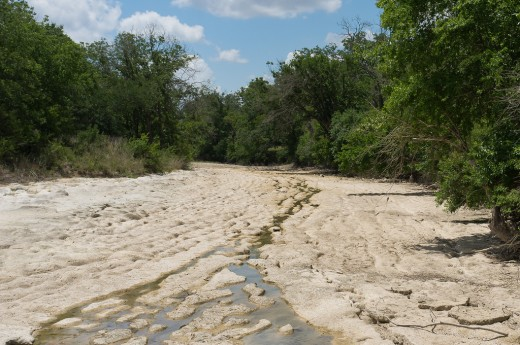 The Blanco River near the city of Blanco in Blanco County, Texas during the big drought of 2011.