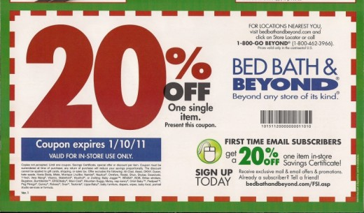 Bed Bath and Beyond coupons like this one are mailed to customers who've signed up for the company's mailing list.