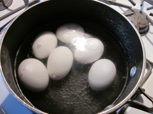 Boil the eggs for 17 minutes