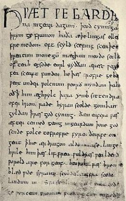 "The first page of the sole surviving manuscript of ""Beowulf."" Despite being the earliest known piece of writing in English, few English speakers would understand the language on the page."