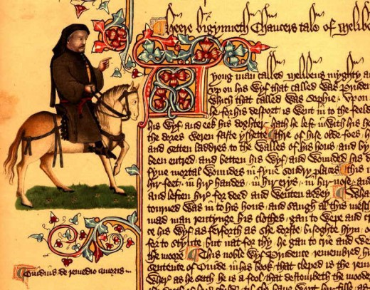 This page comes from the Ellesmere Manuscript of Chaucer's Canterbury Tales, written in Middle English. The Scribe, Adam Pinkhurst, was known for his elegant hand, but he wrote to conserve space on the page.