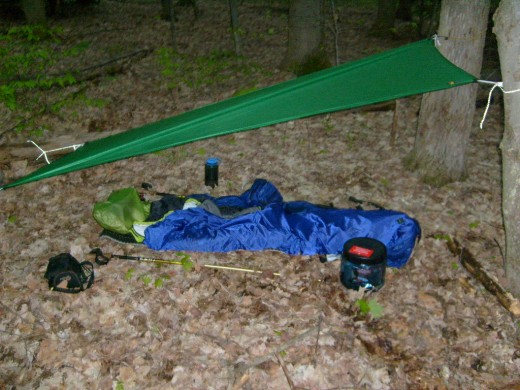As an ultralight backpacker, my gear is simple (like this tarp); however, it is often expensive. This is a site along the Eastside-Overland Trail.