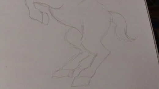 Now sketch in the other back leg which will obviously look smaller than the one at the forefront.