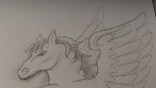 Sketching in the tip of the Pony's wing in the background helps add some depth to the drawing.