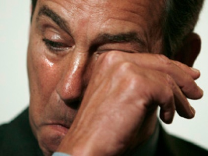 Boehner wipes a tear from his eye