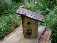 Rustic Bird House with Padlock Detail
