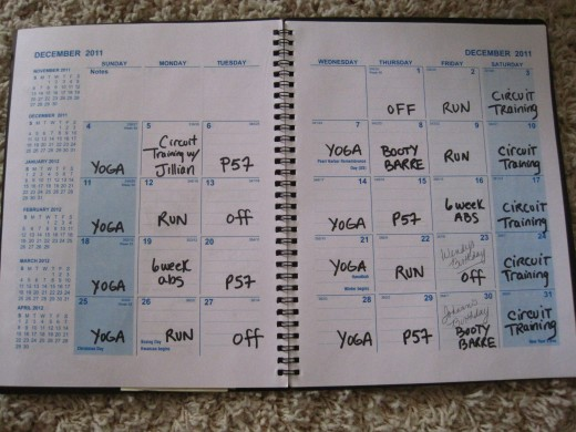 An example of my actual calendar with my exercise plan for the month.