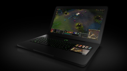 This shows League of Legends being played on the Razer Blade Laptop, clearly showing the specialized SwitchBladeUI