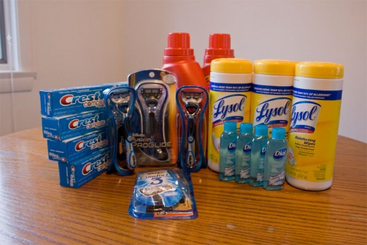 After a few quick couponing trips I have created a small stockpile that is worth between $50-$70, but cost less than $5.