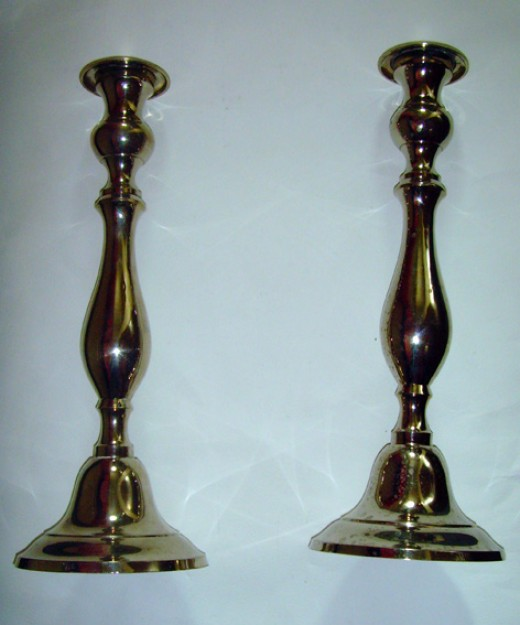 Lovely Large Pair Of Chrome Metal Candlesticks