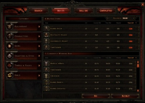 The interface for the Diablo 3 Auction House looks very similar to the World of Warcraft Auction House.