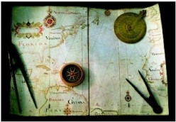 Tools of navigation including calipers, astrolabe, and compass. Outdated, but still proficient in the proper hands.