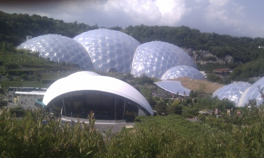 Some of the biomes at the Eden Project, along with a stage set up for Jack Johnson.