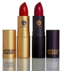 Two great berry shades. The lipstick in the gold tube is for those with smaller lips; the lipstick in the black tube is a darker shade.