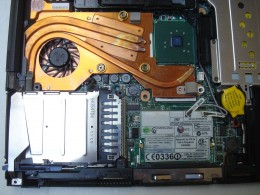 Cleaned inside. This T42 has better heat sink which covers the GPU as well.