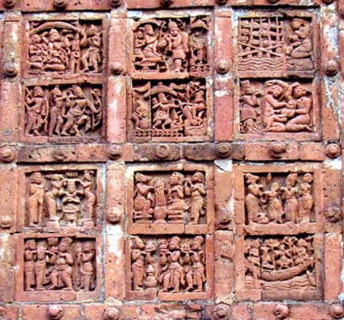 A Panel on Jor-Bangla temple, Bishnupur. Stories of Ramayana.
