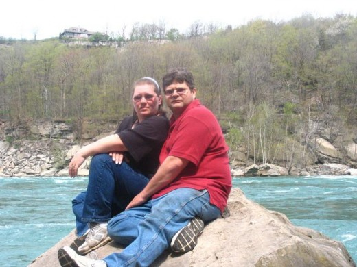My Wife and I on our honeymoon in Niagra falls.  This was taken on a rock in the Niagra River
