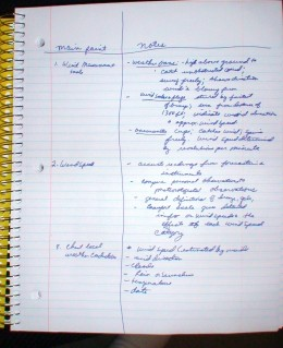 The Cornell Method of note-taking is one way to organize notees during lectures or reading sessions.