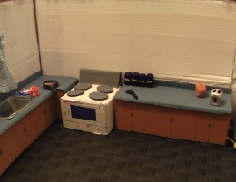 "Kitchen Set from the claymation cartoon, ""Charlie Butters: Floor Burgers."""