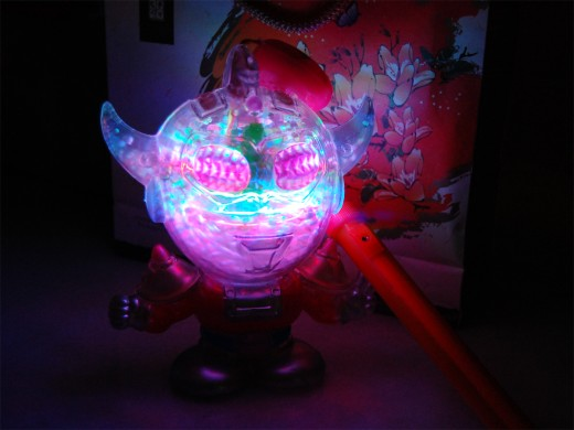 A modern musical and moving lights lantern in the shape of Ultraman...