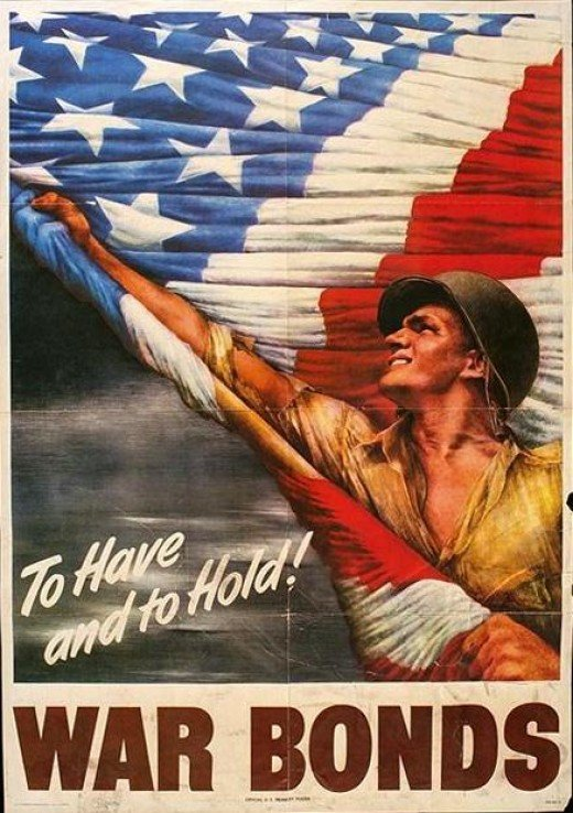 Most war posters always showed a serviceman, smiling and proudly holding Old Glory in the air as a symbol of pride, honor, and victory.