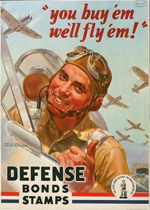 A smiling Air Force pilot is shown on this vintage war poster that was probably used to keep up the country's morale during World War I and II.