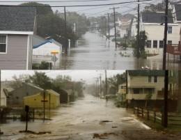 Storm Surge same street 26 years apart! Top photo during Hurricane Irene 2011, bottom photo Hurricane Gloria 1985