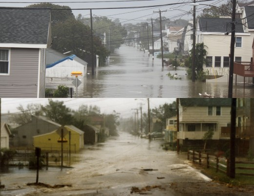View down Melba street  (top after Tropical storm Irene in 2011) (Bottom after Hurricane Gloria in 1985)