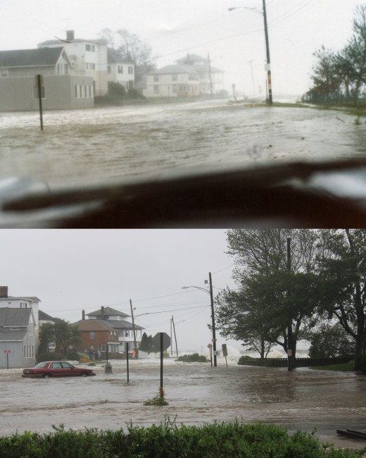 Views of Anchor Beach in Milford, CT top is during Hurricane Gloria bottom is during Tropical Storm Irene.