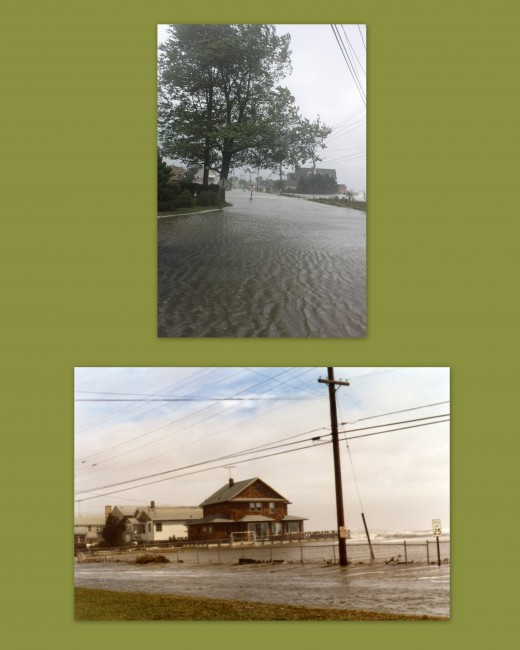 view of Bayview looking north towards Melba street in Gloria on the bottom and during Irene at the top.